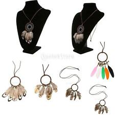 Bohemian Fashion Dream Catcher Feather Leather Chain Pendant Necklace