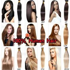 """Stick I Tip 100% Remy Real Human Hair Extensions micro ring pre bonded 20"""" 100G"""