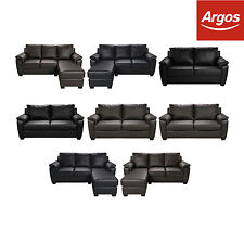 HOME Antonio Leather Effect Left / Right Corner Group Sofa - Chocolate / Black