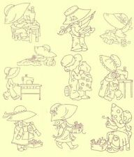 Sunbonnets Sewing Redwork Machine Embroidery CD-40 Designs-by Anemone Embroidery