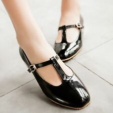Women's Patent Leather T-Strap Mary Jane Shoes Flats Casual Round Toe Shoes Size