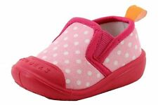 Skidders Pink Polka Dot Canvas Slip On Shoes SkidProof Infant Toddler #XP8610