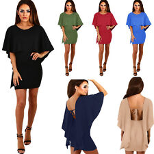 Fashion Women Short Sleeve Mini Batwing Tunic Backless Ladies Dress NMZ218-2