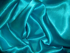 BLUE TURQUOISE SILKY SATIN FABRIC MATERIAL DRESS MAKING CRAFTS 1.5m WIDE x 1m