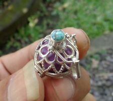 Turquoise Solid Silver, 925 Balinese Brass Mystic Chime Pendant 28130