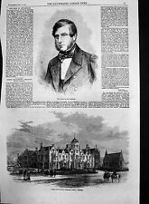 Old Print Queen Elizabeths Grammar School Ipswich Duke Devonshir1862 190J691
