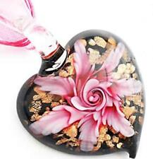 STUNNING GLASS LAMPWORK  FLOWER HEART PENDANT PINK 45mm x 35mm