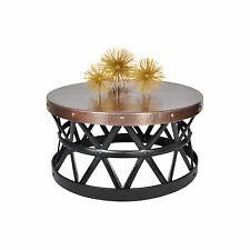 Contemporary Round Hammered Copper Coffee Table