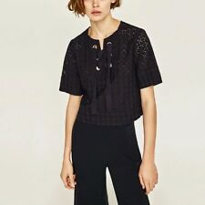 New Womens Ladies Sexy Hollow Lace Up Short Sleeve Pullover Blouse Tops Shirt