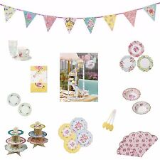 Truly Scrumptious Vintage Floral Tea Bunting Party Napkins Cake Plate Bowls Cup
