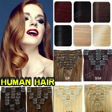 7/8PCS Clips In Full Head Extensions Remy Real 100% Human Hair 10-22Inches US II