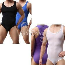 Sexy Mens Lingerie Bodysuit Thong Singlet Leotard Soft Smooth Jumpsuit Underwear