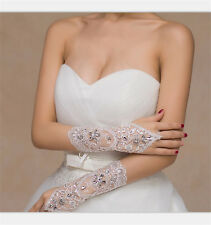 White/IvoryCrystal Wedding Bridal Glove Accessory Beaded Lace fingerless glovesB
