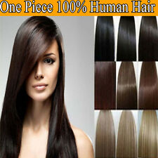 "Deluxe Clip in Human Hair Extensions One Piece 5Clips 80-120Gr Thick 13-22"" TA0"
