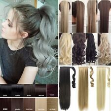 UK Wrap On Clip In Ponytail Hair Extensions Pony Tail Straight Curly Human Piece