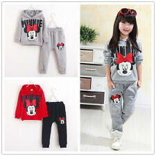 2Pcs/set Baby Girls Mouse Hoodie Coat Tops + Pants Set Kids clothes suits