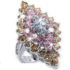 HUGE Multi Color Champagne Pink Pave Cz Cubic Zirconia Cocktail Statement Ring