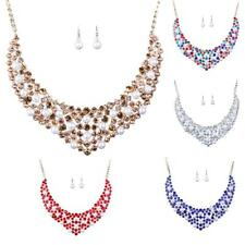 Crystal Women Wedding Bridal Crystal Statement Necklace Earrings Jewelry Set