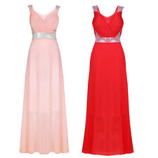 Women Chiffon Sleeveless Sequined Padded Party Bridesmaid Cocktail Maxi Dress