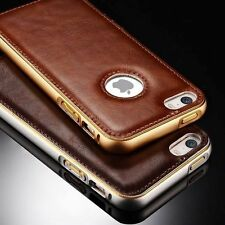 Luxury Aluminum Metal Bumper Frame Leather Case Cover For iPhone 5 5s 6 6S Plus