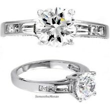 2.5ct Round Cut Solitaire Baguettes Signity Cz Engagement Cocktail Wedding Ring