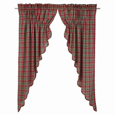 Graham Prairie Swags, Crimson, Army Green and Biscotti Plaid, Choice of 2 Sizes