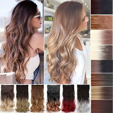 UK lady Long Clip in Hair Extensions Extentions Ombre Dip Dye Wavy Straight Hair