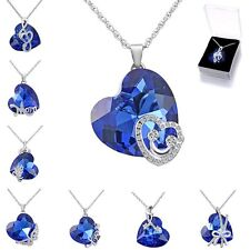 Thanksgiving Day Gift Crystal Love Heart White Gold GP Pendant Necklace+Free Box