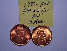 wheat penny lot 1942-P,1942-D RED BU SET 1942,1942D UNC. NICE LINCOLN CENTS