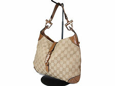 Authentic GUCCI GG Pattern Canvas Leather Brown Shoulder Bag GS1061