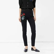 New Womens Cranes Embroidered Black Denim Pencil Pants Trousers Jeans 4 Size