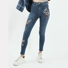 New Womens Premium Embroidered Blue/Black Denim Pants Trousers Jeans 4 Size