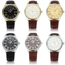 Leather Style Automatic Mechanical Watch Band Stainless Steel Men Quartz U@