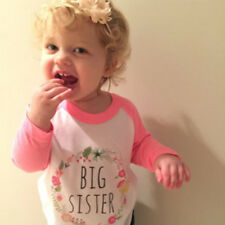 Cute Big Sister Toddler Kids Baby Girls Long Sleeves Clothes Cotton T-shirt Tops