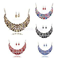 Pretty Crystal Rhinestone Statement Bib Pendant Necklace Earrings Set Jewelry