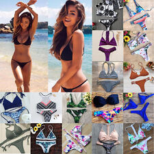 Women Triangle Push-Up Bikini Set Bandeau Bandage Swimwear Swimsuit Beachwear LC