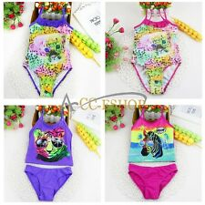 Girls Animal Print Swimwear Swimsuit Tankini Bikini Beachwear Bathing Suits 3-7