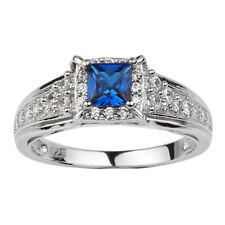 Sterling Silver Women's Promise Ring 4.5mm Dark Blue Cubic Zirconia CZ Jewelry