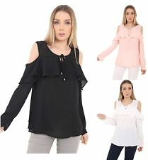 Womens Ladies Chiffon Crepe Cold Off Shoulder Cut Out Ruffle Tie Top Blouse