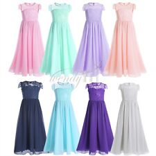 Girls Chiffon Lace Flower Dress Princess Pageant Wedding Bridesmaid Formal Party