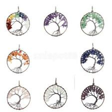 Tree of Life Healing Crystal Gemstone Beads Necklace Charm Pendant Jewellery
