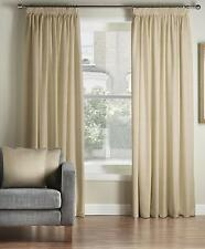 One Pair Of MONTGOMERY Natural Plain Totem Pencil Pleat Lined Curtains
