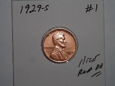 wheat penny 1929S LINCOLN CENT NICE RED CH BU 1929-S LOT #1 GREAT RED CH UNC