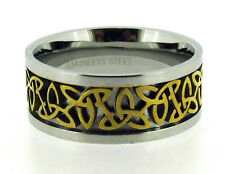 Stainless Steel Celtic Ring with Gold Tone Woven Center Size 6 7 8 9 10 11 12
