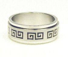 Greek Key Stainless Steel Spin Ring Size 7