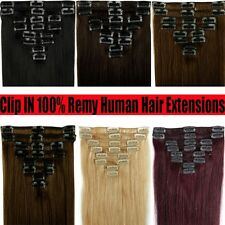 Silky&Straight Full Head 8 Pcs 18 Clips Clip on Remy Human Hair Extensions YU357