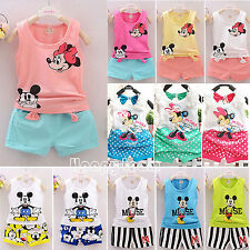 2017 Baby Boy Girl Kid Minnie Mickey Mouse Clothes Top+Shorts Pants 2Pcs Outfit
