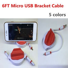 2M/6FT Micro USB Retractable Quick Data Sync Charger Cable Stand Base Holder