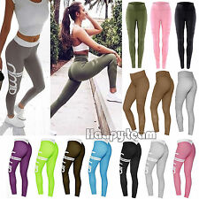 Womens Running Yoga Fitness Leggings Gym Exercise Stretch Sports Pants Trousers