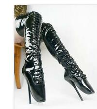 Sexy womens super high heel ballet dance shoes side zipper over knee boots @